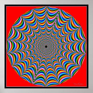 Web de araña Dizzying de los colores Póster