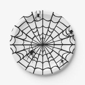 Web de araña espeluznante platos de papel
