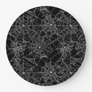 Web de araña espeluznantes reloj redondo grande