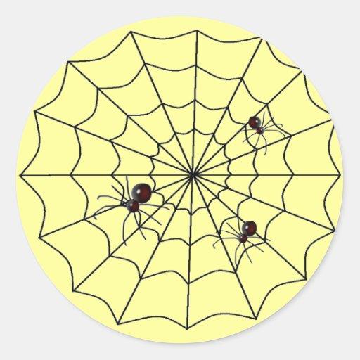 Web de araña pegatina redonda