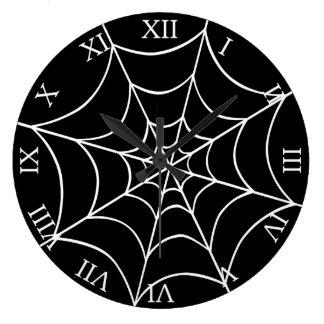 Web de araña reloj redondo grande