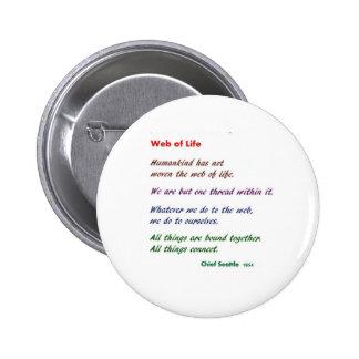 Web de la vida: Sabiduría del nativo americano Pin Redondo 5 Cm