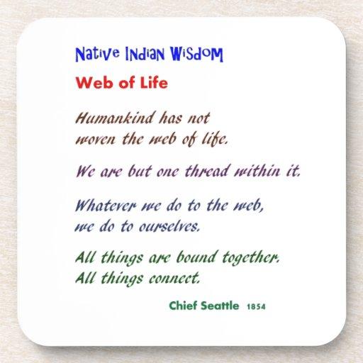 Web de la vida: Sabiduría del nativo americano Posavasos De Bebida