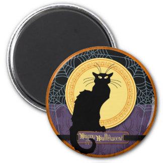 Web del gato negro y de araña el la noche de Hallo Imán De Frigorífico