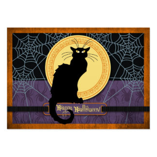 Web del gato negro y de araña el la noche de tarjetas de visita grandes