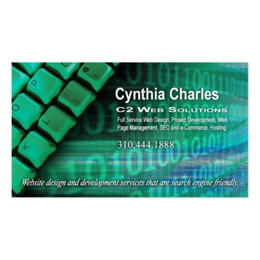 Web Design 1 Business Card template green