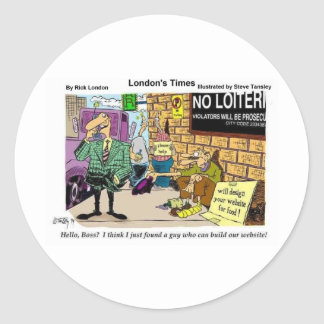 Web Design Beggar Funny Gifts Tees & Collectibles Classic Round Sticker