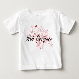 Web Designer Artistic Job Design with Butterflies Baby T-Shirt