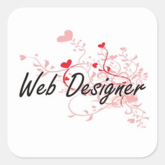 Web Designer Artistic Job Design with Hearts Square Sticker