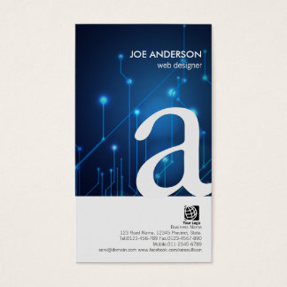 Web Designer Bold Monogram Circuits Business Card