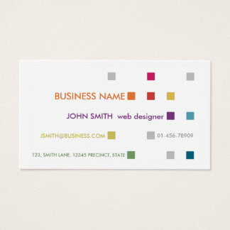 Web Designer Business Card Bright Squares