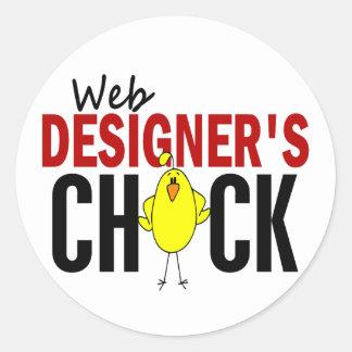 Web Designer's Chick Round Sticker