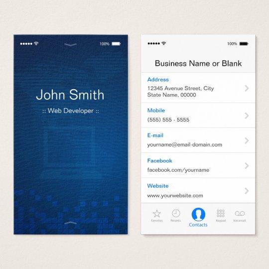 Web Developer - Apple iOS Customizable Flat Design Business Card ...