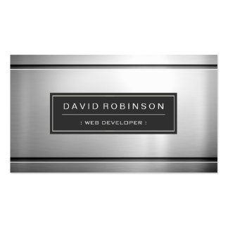 Web Developer - Premium Silver Metal Double-Sided Standard Business Cards (Pack Of 100)