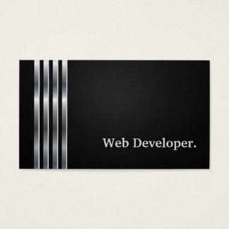 Web Developer Professional Black Silver Business Card