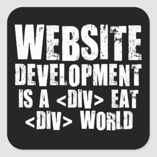 Web Development: A DIV EAT DIV World Square Sticker