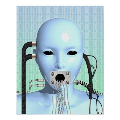 Web Head Modern Techno Industrial Surreal Art Poster