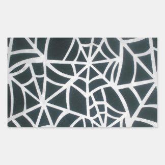 Web hermoso de la cebra de Stripes.JPG blanco y Pegatina Rectangular
