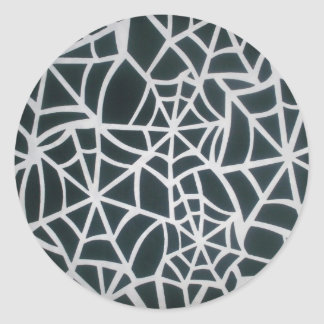 Web hermoso de la cebra de Stripes.JPG blanco y Pegatina Redonda