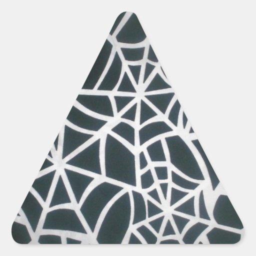 Web hermoso de la cebra de Stripes.JPG blanco y Pegatina Triangular