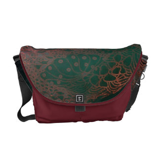 Web in dark Red Courier Bag