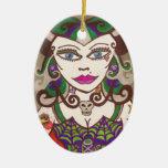 """Web Mistress"" Double-Sided Oval Ceramic Christmas Ornament"