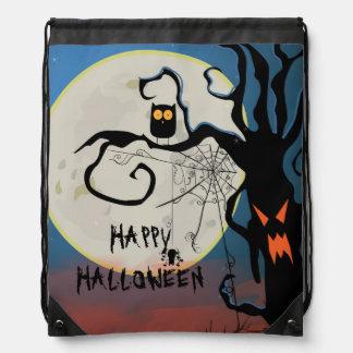 Web negro del búho y de araña del feliz Halloween Mochilas