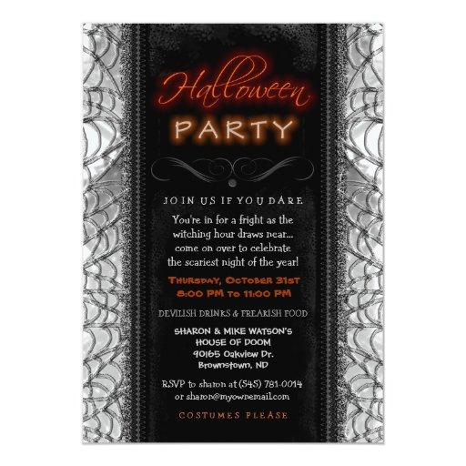 Web negros y blancos de la invitación de Halloween Invitación 12,7 X 17,8 Cm