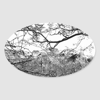 Web of Branches Oval Sticker