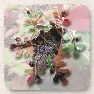 Web of Dewdrops; Merry Christmas Beverage Coaster