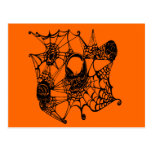 Web Of Skulls-blk Post Cards