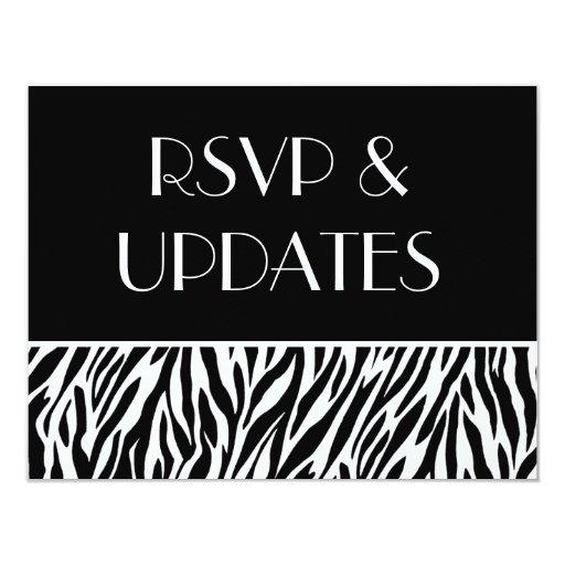 Web site blanco negro RSVP de la cebra y tarjetas Invitación 10,8 X 13,9 Cm