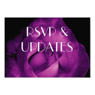 """Web site color de rosa púrpura RSVP e Info Ver 01 Invitación 3.5"""" X 5"""""""