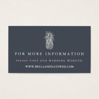 Web site del boda de la piña del vintage de la tarjetas de visita