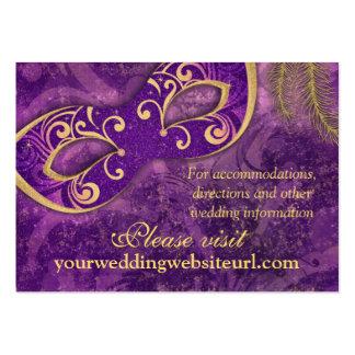 Web site púrpura del boda de la bola de mascarada  tarjetas de visita grandes