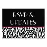 Web site rosado blanco negro RSVP de la cebra y Anuncio Personalizado
