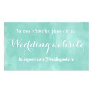 Web site verde del boda de la acuarela de la tarjetas de visita