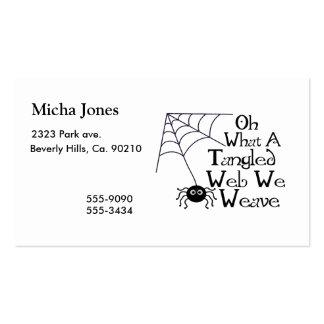 Web spider enredado tarjetas de visita