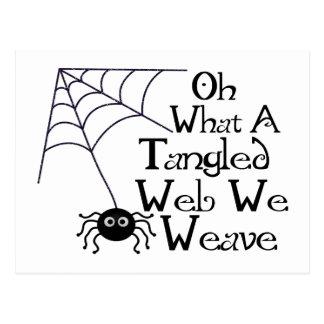 Web spider enredado tarjetas postales