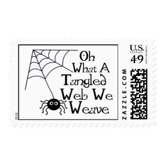 Web spider enredado timbre postal