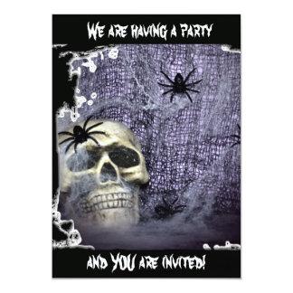 Web, Spiders and Skull Invitation