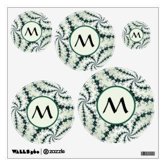 Web verdes con el monograma - cordón delicado del