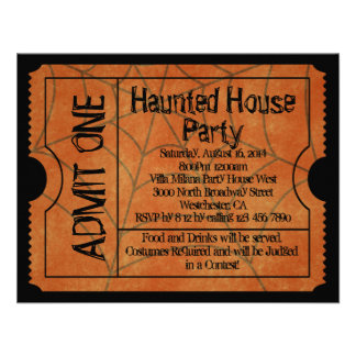 Web Vintage Ticket Haunted House Party Invitations