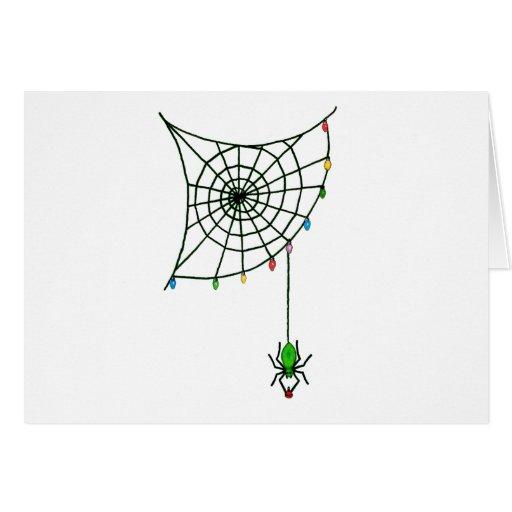 Web y luces de araña del día de fiesta felicitación