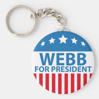 Webb para el presidente llavero redondo tipo pin