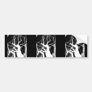WEBBY TREE BLACK AND WHITE NEGATIVE BUMPER STICKERS