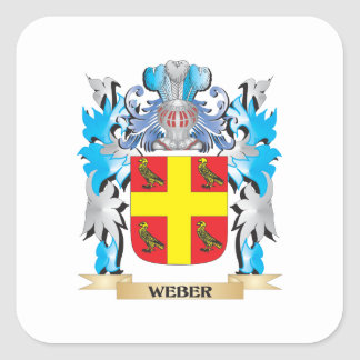 Weber Coat of Arms - Family Crest Square Sticker