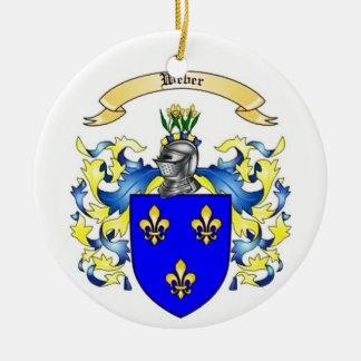 Weber Family Crest Heraldry Round Ceramic Ornament