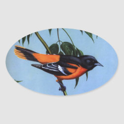 Oval Sticker with Weber's Baltimore Oriole design