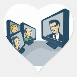 Webinar Video Conference Retro Heart Sticker